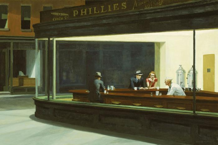 The Painting of Edward Hopper's Nighthawks at Art Institute of Chicago