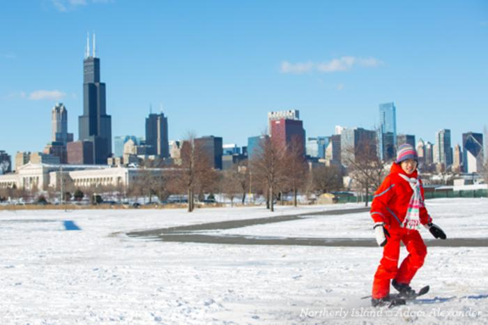 Kid Walking with Snow Shoes on at Northerly Island Chicago