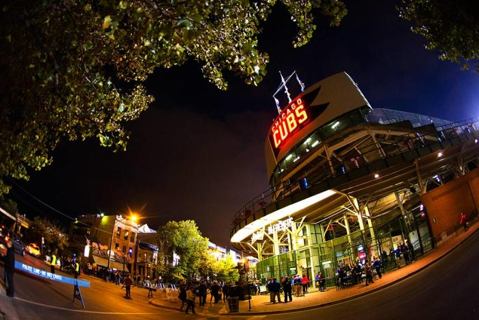 Wrigley Field Exterior at Night
