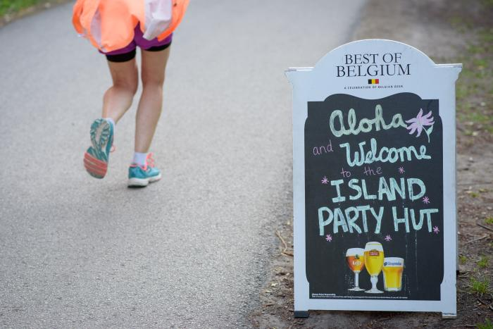 Promo sign for Island Party Hut