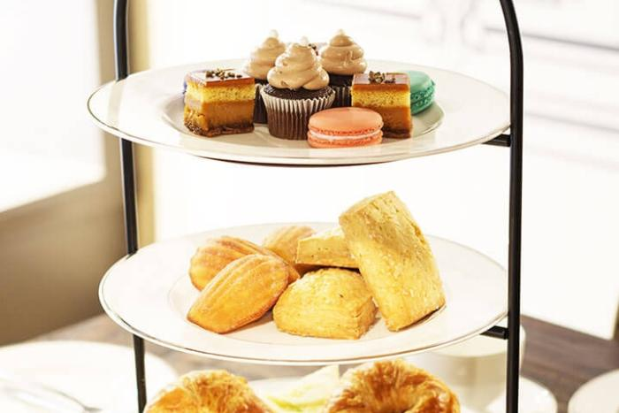 Tea stand with assorted pastries