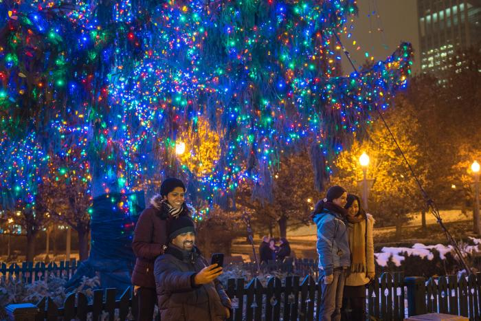 Couple at Millennium Park Christmas Tree in Chicago