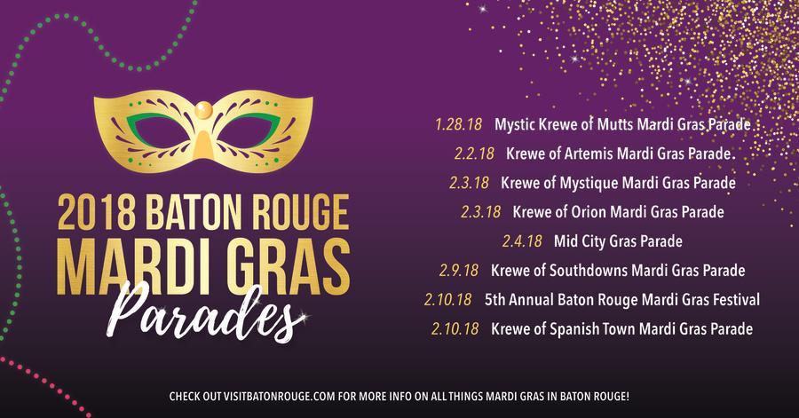 Mardi Gras Schedule 2018