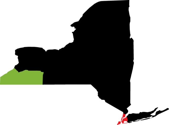 NYC to Chautauqua-Allegheny Map