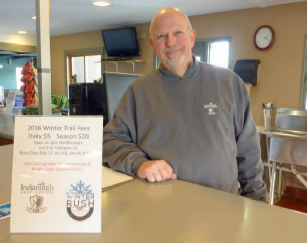 Lance Climie, Indian Trials Clubhouse manager, serves up chili and beer to riders every Wednesday