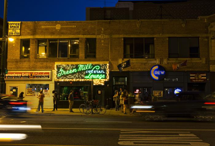 Exterior of the Green Mill Lounge in Chicago