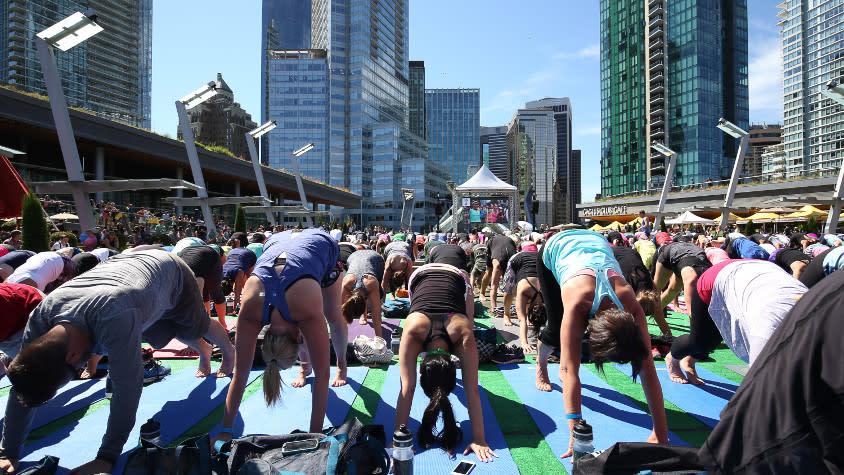 SeaWheeze FAM: Downward Dogs at Nooner Yoga