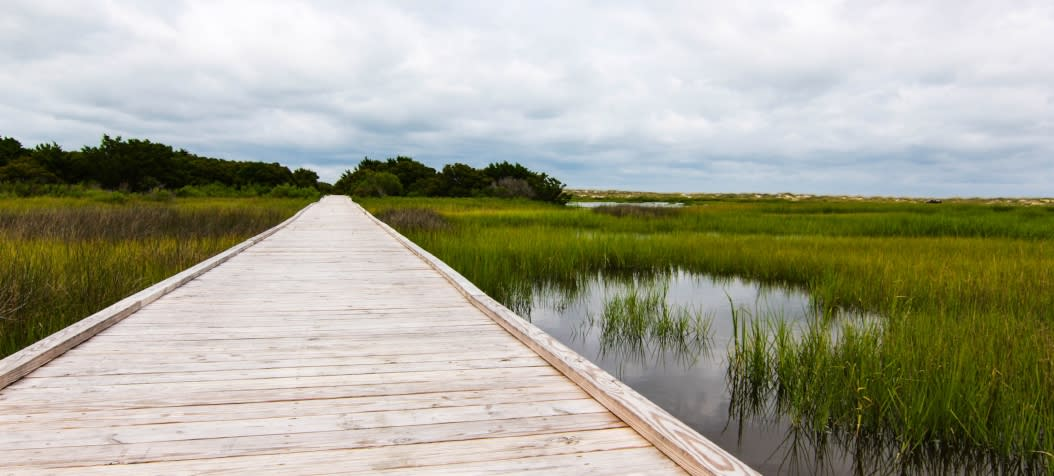 Fort Fisher Basin Trail across Kure Beach NC water