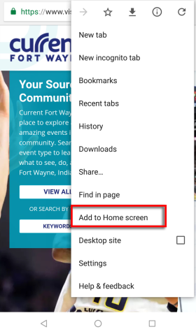 Android - Add to home screen menu