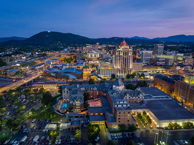 Downtown Roanoke aerial view