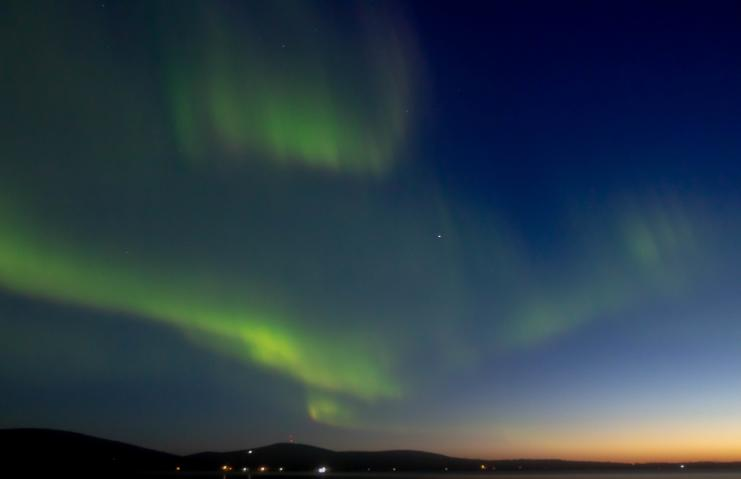 Northern Lights At Twilight in Fairbanks Alaska - K. Wilken
