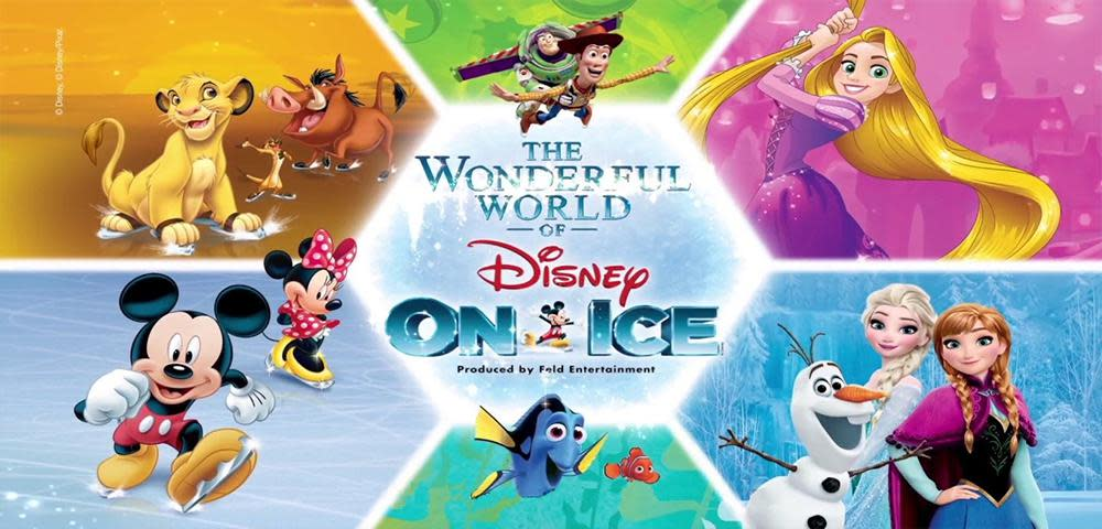 Colorful photo of the lion king, mickey, woody, rory, rapunzel, and the sisters from Frozen around the words The Wonderful World of Disney on Ice