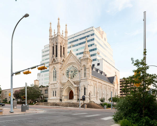 Saint Mary Cathedral exterior in downtown Austin