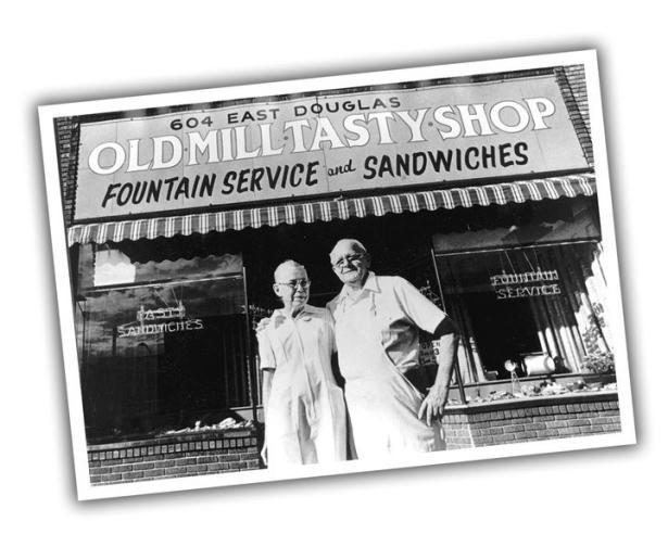 Men in Front of Old Mill Tasty Shop in Wichita