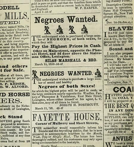 Slave Ads Lexington Newspaper