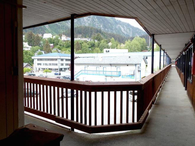Hotel Walkway with View of Mt Juneau