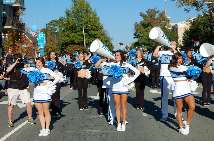 UNC Cheerleaders at Tar Heel Downtown