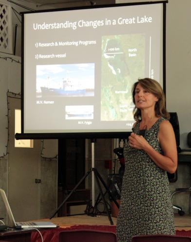 Karen Scott speaks on the State of the Lake at Water Awareness Day.