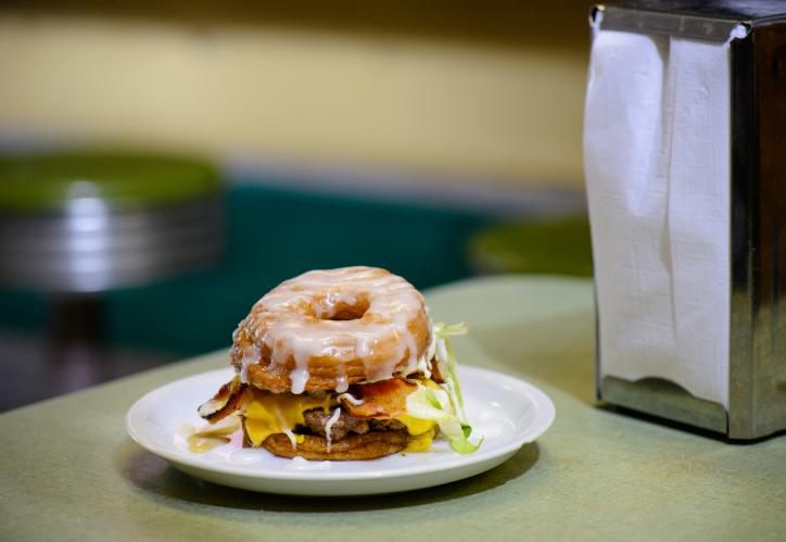 Donut Hamburger from Cotten's Downtown in Lake Charles, La.