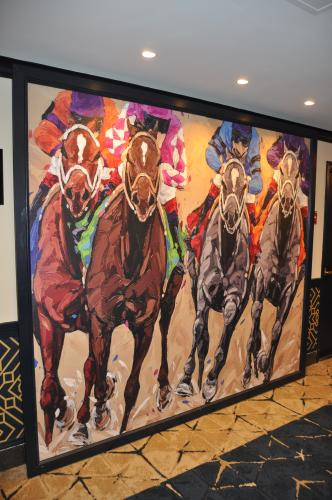 Gideon Putnam Frankie Flores Painting of Race Horses on Doors