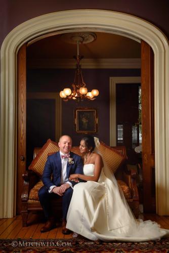 Wedding couple inside Saratoga Mansion Inn