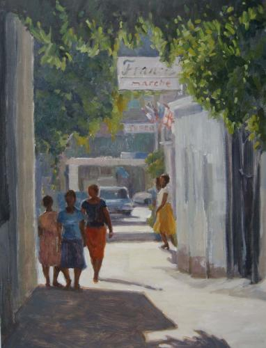 Eden Compton painting of people on a sidewalk