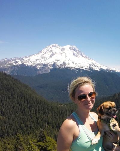 Lisa and Cooper Hiking
