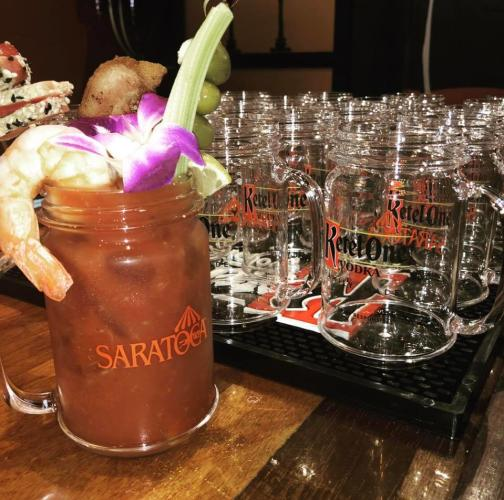 Pig N' Whistle Bloody Mary in a Saratoga mug