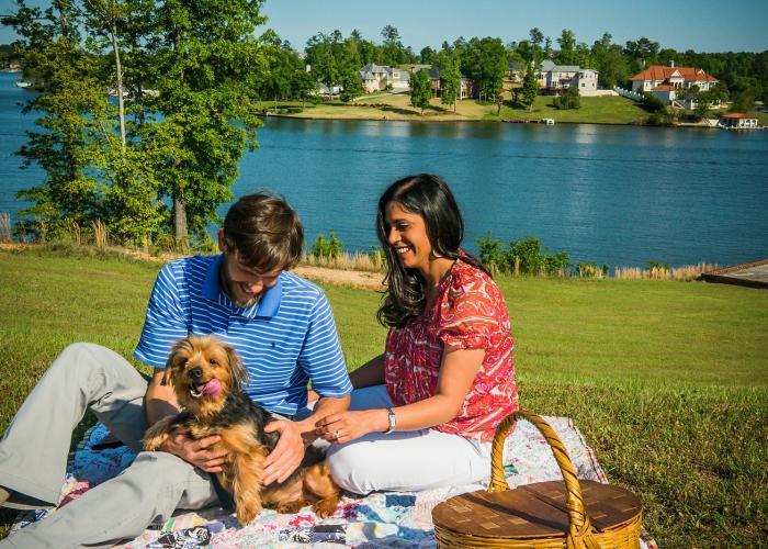 Couple at Lake with Dog