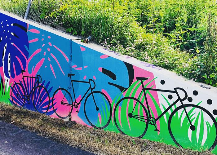Erie Lackawanna Trail colorful bike mural