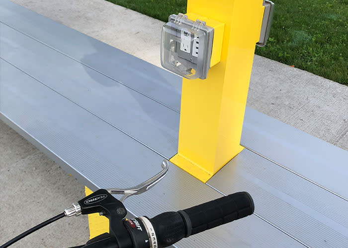 Erie Lackawanna Trail yellow phone charger station and bench