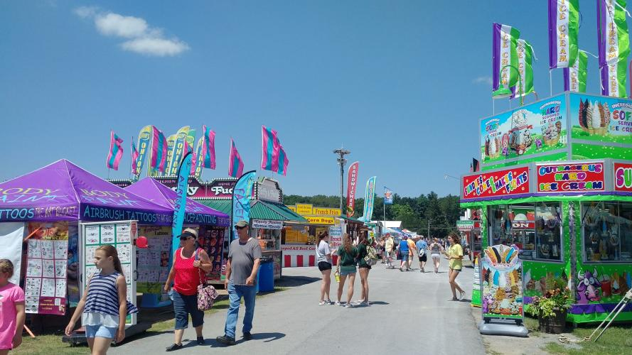 Saratoga Co. Fair photo of vendors along the midway