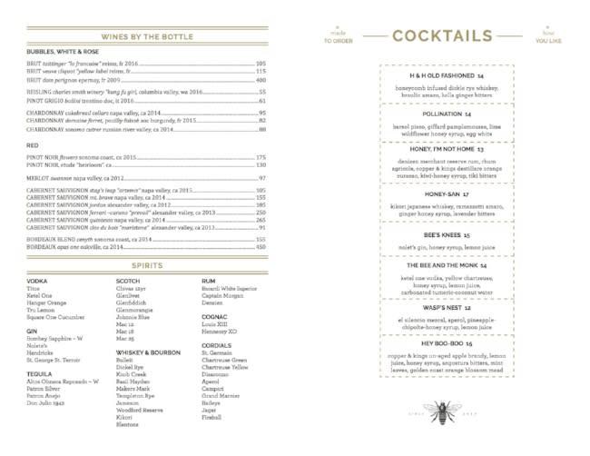 Drink menu at Hive and Honey