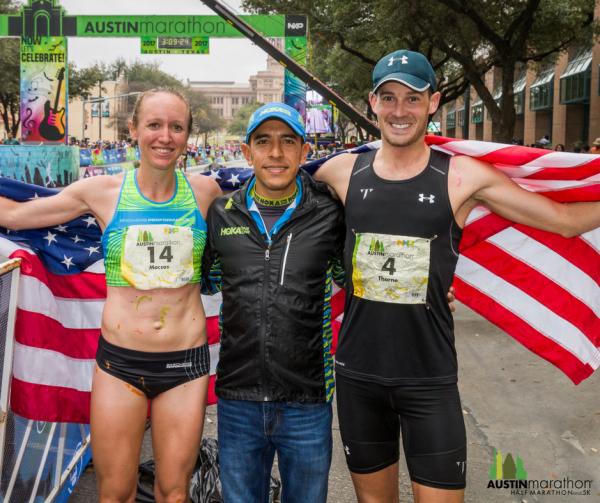 Austin Marathon winners Joe Thorne and Allison Macsas with Austin Marathon Race Ambassador and Olympic silver medalist Leo Manzano