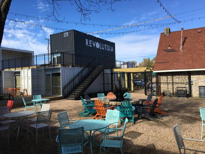 Stop by the newest concept mall in Wichita - Revolustia built out of shipping containers!