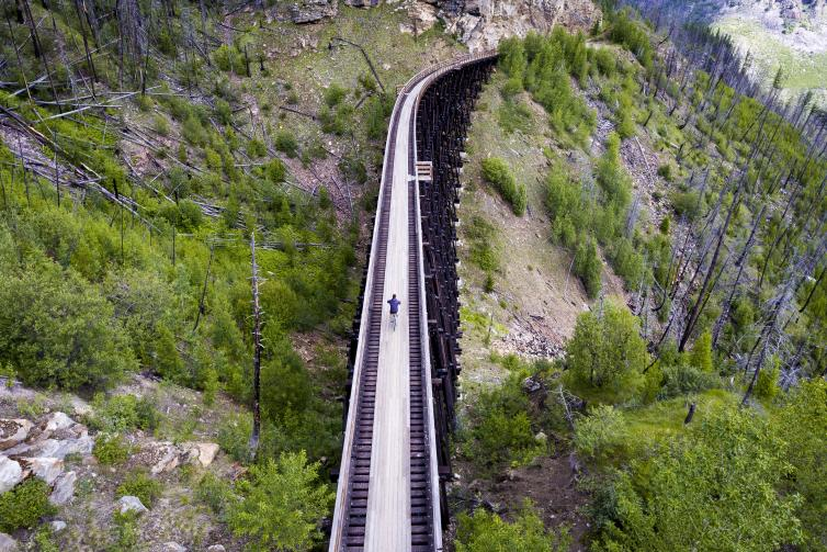 Aerial Myra Canyon Trestles