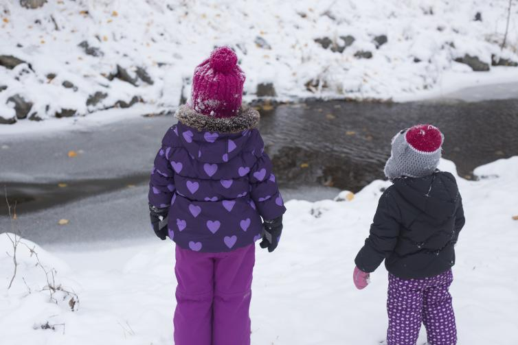 Snowy Mission Creek with the Girls