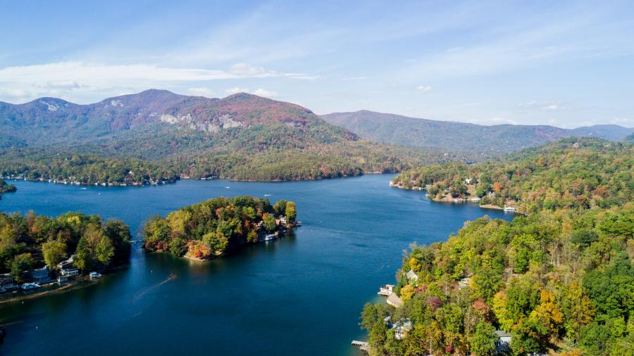 Ariel shot of fall color in Lake Lure