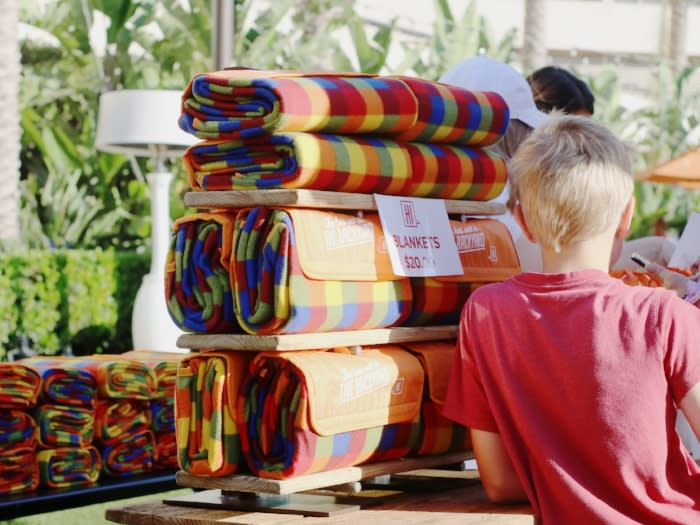 Blankets for sale at movie night at Hotel Irvine