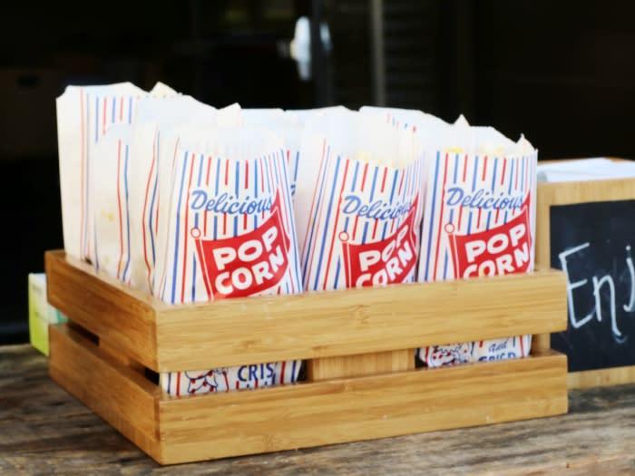 Tray of popcorn at movie night at Hotel Irvine
