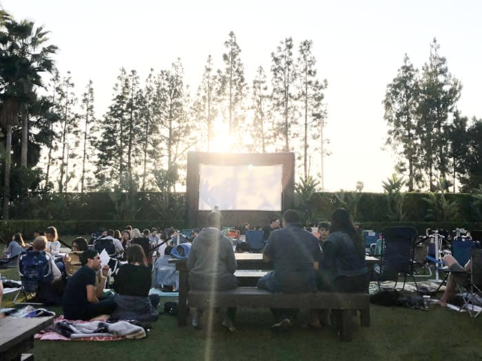 Movie screen at the backyard at Hotel Irvine