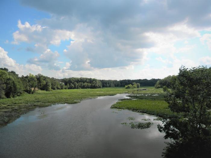 Oak Savannah Trail lake and cloudy sky in Northwest Indiana