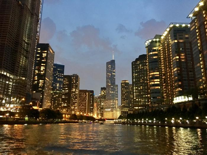 On the Chicago River Cruise at Night
