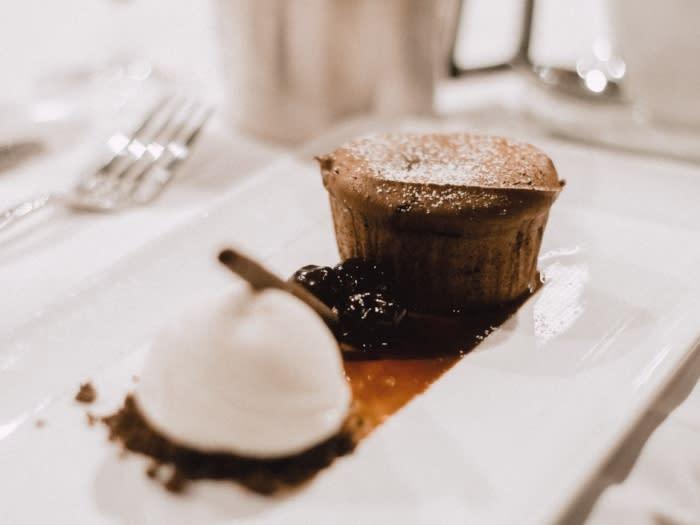 Davios Irvine Chocolate Cake and Vanilla Ice Cream