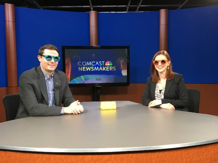 Edward Harris, Vice President of Marketing & Communictions for the Valley Forge Tourism and Convention Board, sits for an on-air interview with Jill Horner of Comcast Newsmakers to discuss the tourism organization's use of Snapchat Spectacles. As part of the interview, the pair tried on a pair.