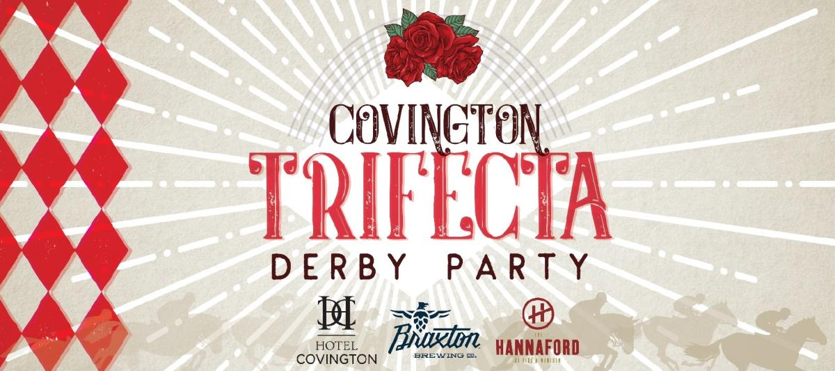 A sign for the Covington Trifecta Derby Party with red roses at the top
