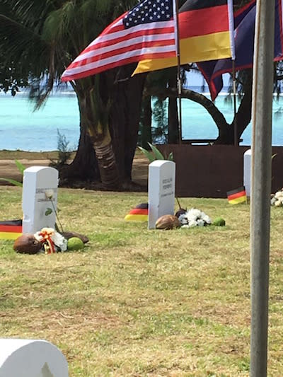 SMS Cormoran Event gravestones and flags