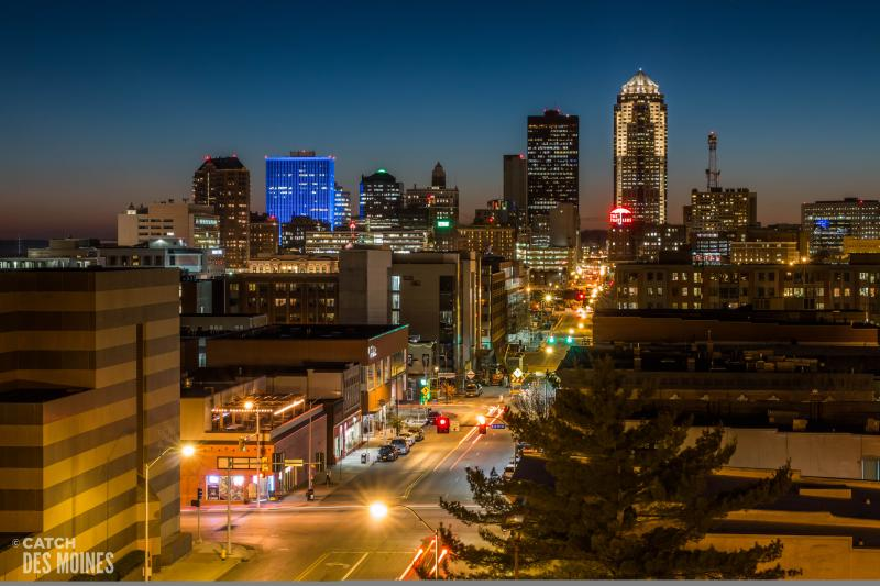 Downtown Des Moines skyline from East Village
