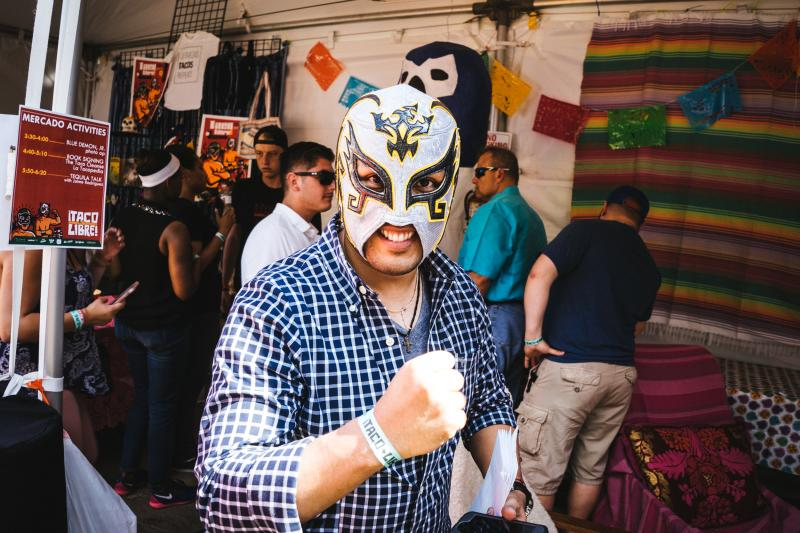 Man in Lucha Libre mask at Taco Libre festival in Austin Texas