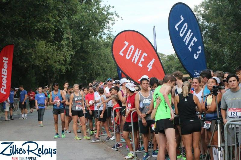 Participants line up during the annual Zilker Relays in Austin Texas